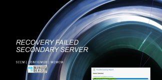 Secondary Server Recovery Failed