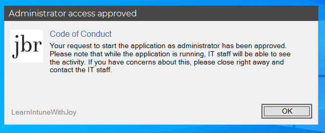 Admin By Request current Windows client version 6.4 - Window to display the Code of Conduct which the user needs to accept