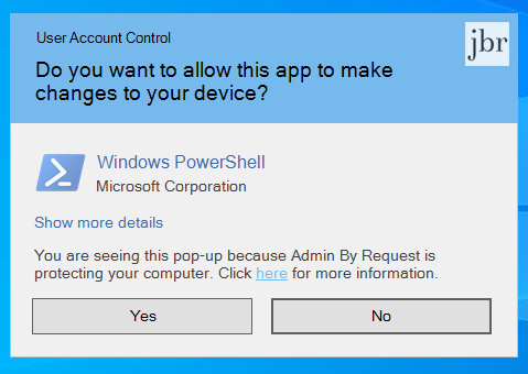 Admin By Request client version 7 - New UAC prompt to confirm elevation request