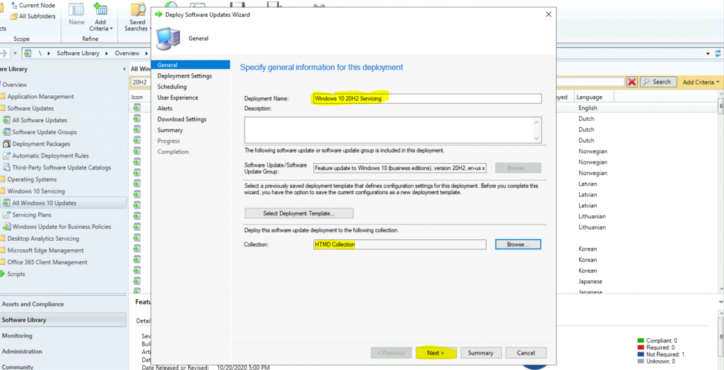 ConfigMgr Windows 10 Servicing Upgrade to 20H2 | SCCM 4