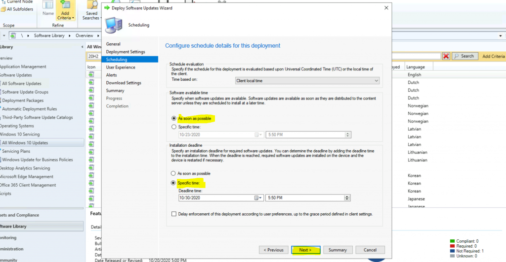 ConfigMgr Windows 10 Servicing Upgrade to 20H2 | SCCM 5