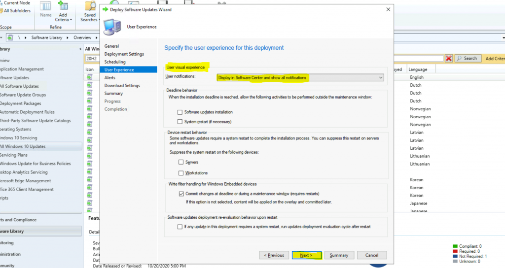 ConfigMgr Windows 10 Servicing Upgrade to 20H2 | SCCM