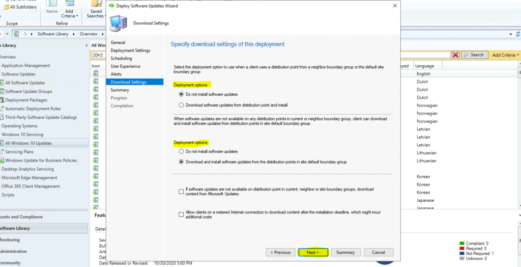 ConfigMgr Windows 10 Servicing Upgrade to 20H2 | SCCM 7