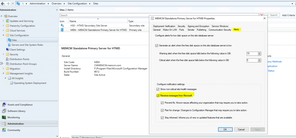 Receive Push Messages in the ConfigMgr Console from Microsoft - SCCM - Enable SCCM Console Notification from Microsoft | ConfigMgr
