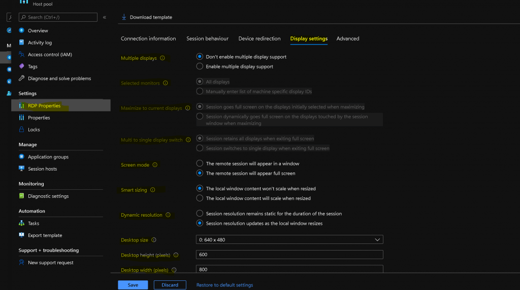 WVD New RDP Settings Options Available | UX Updates | v2