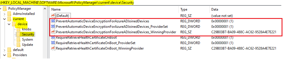 Easily Troubleshoot Windows 10 Intune MDM Policies - HKLM\SOFTWARE\MICROSOFT\POLICYMANAGER\current\Device\ will be the place to look for in registry to check if system succeeded in implementing the policy settings with the value as was configured.