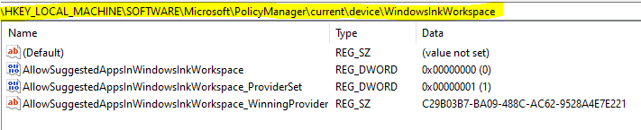 Easily Troubleshoot Windows 10 Intune MDM Policies - HKLM\SOFTWARE\MICROSOFT\POLICYMANAGER\Current\Device\ shows that system impelmented the policy settings as-is configured.