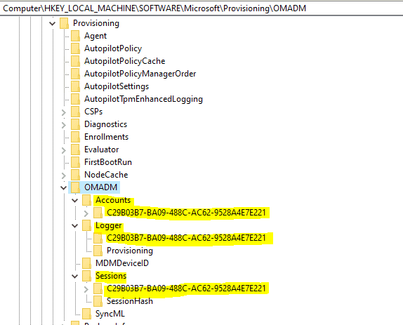 Easily Troubleshoot Windows 10 Intune MDM Policies - Locating the current Enrollment ID - Way 4 using Registry. [NOTE: This is not the Intune Device ID]