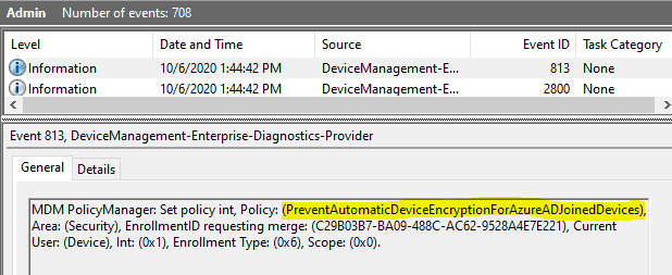 Easily Troubleshoot Windows 10 Intune MDM Policies - DeviceManagement-Enterprise-Diagnostics-Provider events should be your primary source to start digging for information related to mdm policy deployments and its outcome.