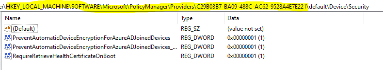 Easily Troubleshoot Windows 10 Intune MDM Policies - HKLM\SOFTWARE\MICROSOFT\POLICYMANAGER\PROVIDER\{PROVIDER GUID\default\Device will be the place to look for in registry to check if Intune delivered the policy settings as-is configured.