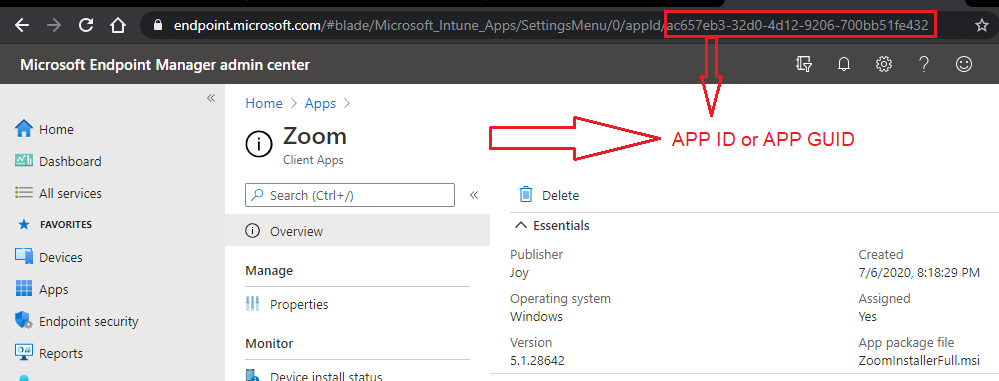 Windows 10 Intune App Deployment Support Help #2 - Irrespective of the type of app being created, Store app/LOB app/Weblink, Intune will create an Application object identifiable via a GUID.