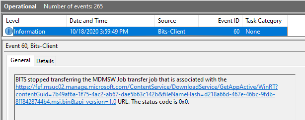 Windows 10 Intune App Deployment Support Help #2 - Tracking MSI app download using BITS-Client events