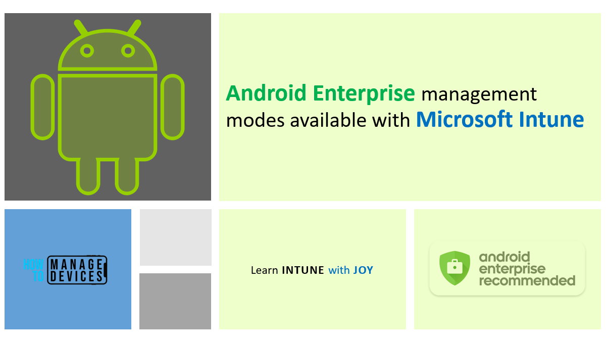 Android Enterprise management modes available with Intune