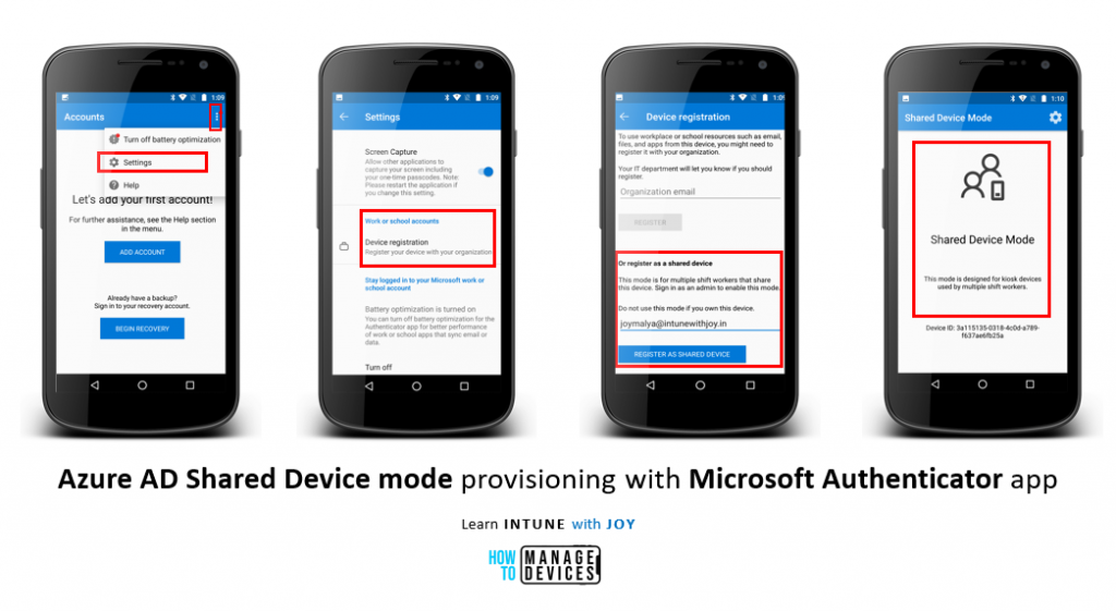 Azure AD Shared device mode provisioning on a managed/unmanaged device manually with the Microsoft Authenticator app.