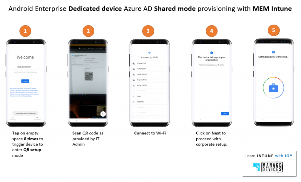Device Provisioning Experience - Azure AD Shared Device mode with Android Enterprise Dedicated devices