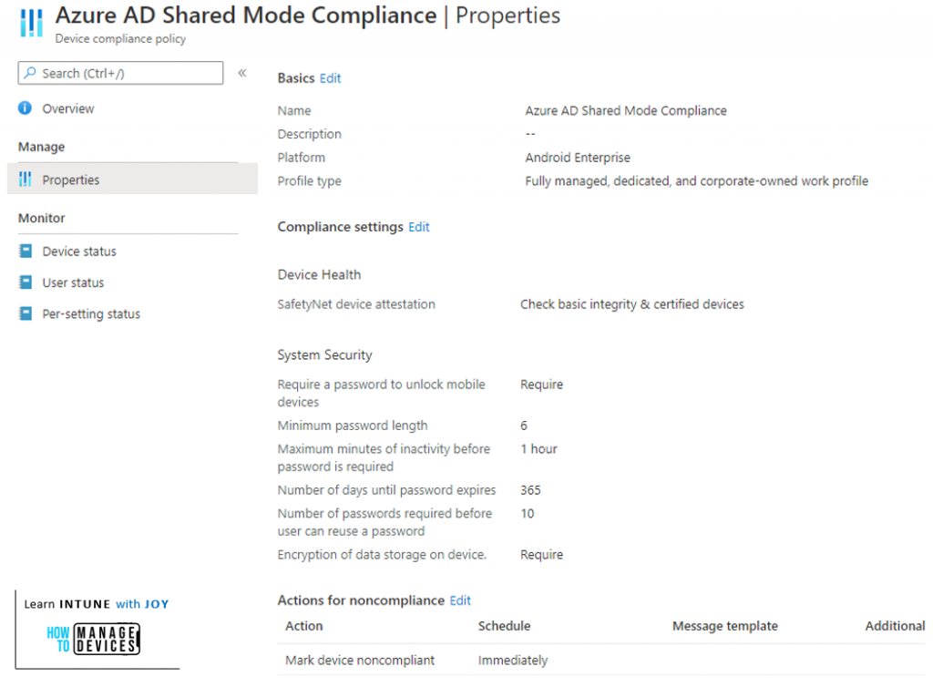 Compliance Policy to evaluate device compliance of a Dedicated device in Azure AD Shared Device mode