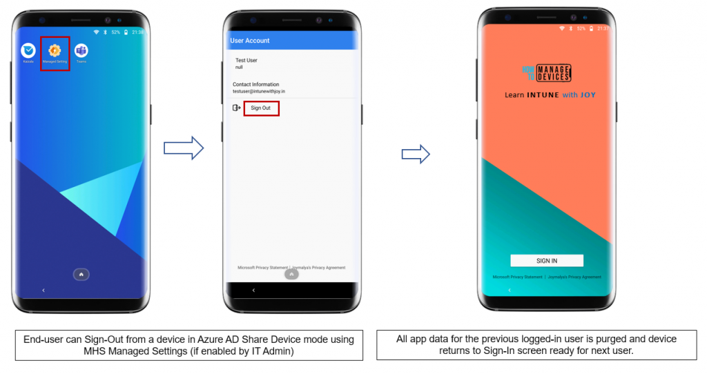 Azure AD Shared Device mode - Current signed-in users can also choose to end the session and sign-out from the Managed Settings screen of Managed Home Screen if enabled by IT Admin.