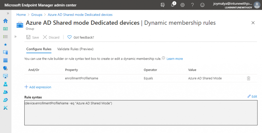 Create a Dynamic Device Group to contain devices enrolled with Android Enterprise Dedicated devices in Azure AD Shared Device mode
