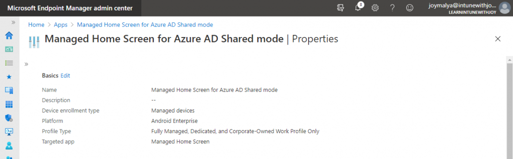Configuring Managed Home Screen to support Azure AD Shared Device mode
