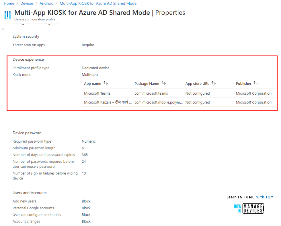 Azure AD Shared Device mode - Create a Multi-App KIOSK profile to allow apps to run within Managed Home Screen