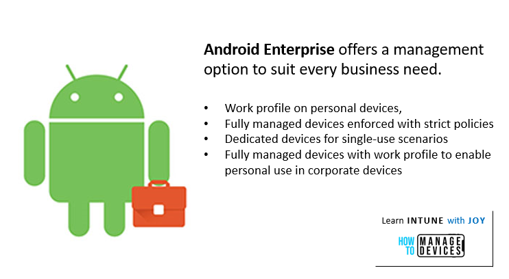 9 myths regarding the use of Android in Enterprise - Android Enterprise offers a management option to suit every business need.