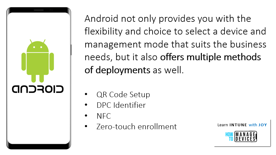 9 myths regarding the use of Android in Enterprise - Android Enterprise offers a management option to suit every business need. From QR code setup to fully automated Zero-Touch enrollment with other methods as well.
