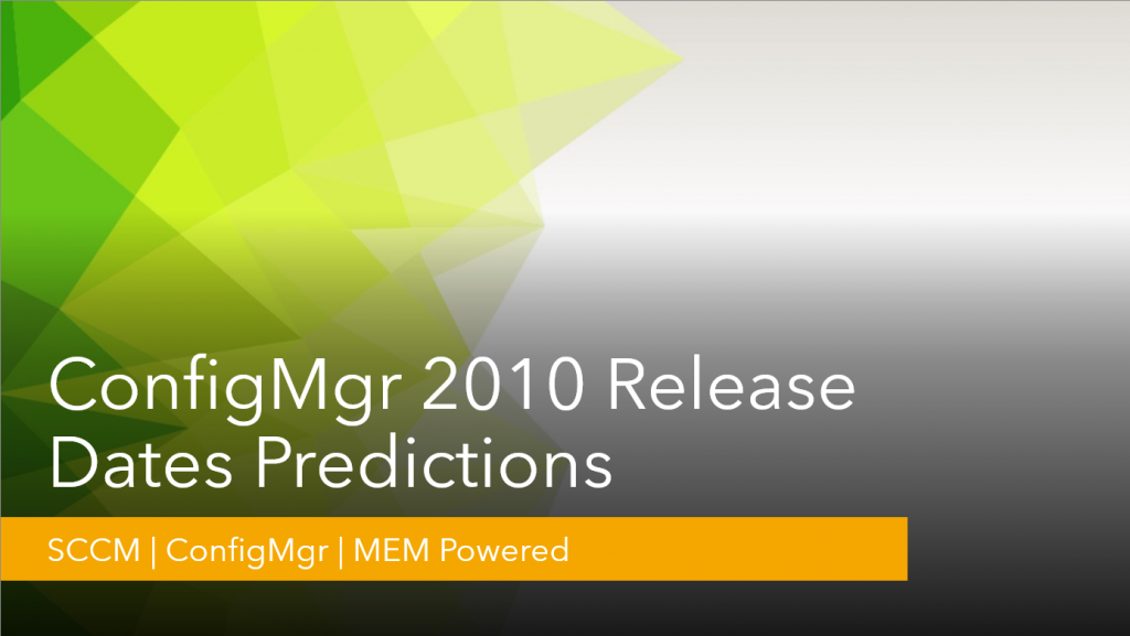 ConfigMgr 2010 Release Date Predictions | SCCM