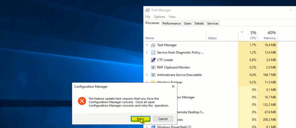 Fix ConfigMgr Console Feature Update Task Retry Operation Error | SCCM 2