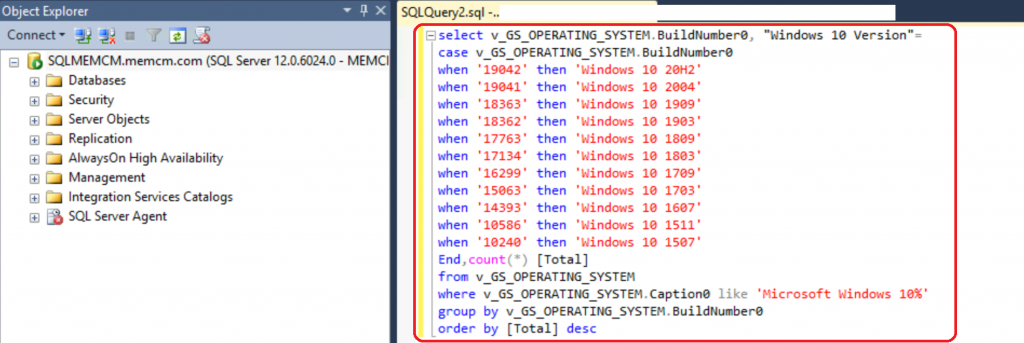 ConfigMgr SQL Query Windows 10 Version Count | Dashboard | SCCM