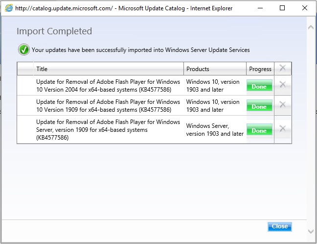 Manually Import Deploy Adobe Flash Player Removal Updates using WSUS ConfigMgr