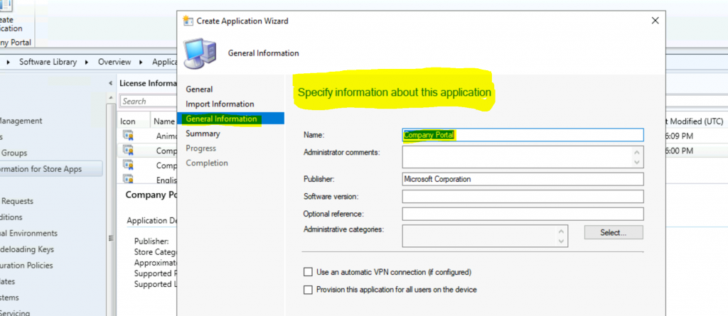 Create Microsoft Store Apps available in ConfigMgr Application