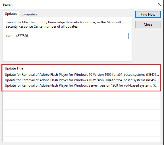 Manually Import Deploy Adobe Flash Player Removal Updates using WSUS ConfigMgr 2
