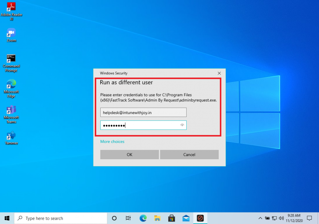 Starting a Support Assist session with Admin By Request - Support Sign in button facilitates Helpdesk engineer to sign-in to ABR client and run it seperately from the current logged-in Windows account.