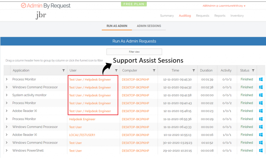 Support Assist session with Admin By Request - Support Assist sessions can be easily identified in audited events since they appear with the end-user account (Windows logged-in user) followed by the account which was used by the helpdesk engineer to sign-in to ABR to initiate the Support Assist session.