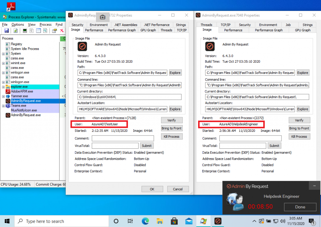 A Support Assist session initiates two processes of Admin By Request on the endpoint - one running with Windows logged-in user account and the other running with the helpdesk engineer provided account to do the Support sign in
