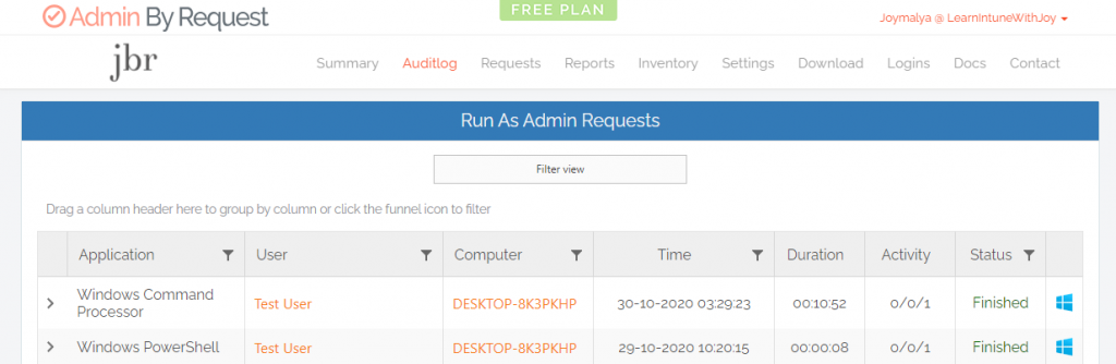 Admin By Request - Check the Run as admin audit events from the ABR portal