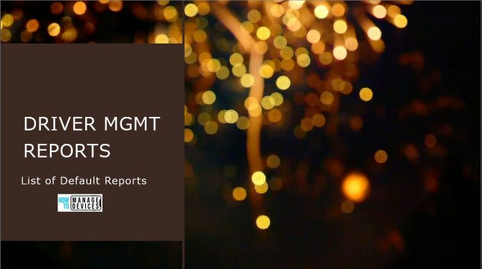 Driver Mgmt Reports