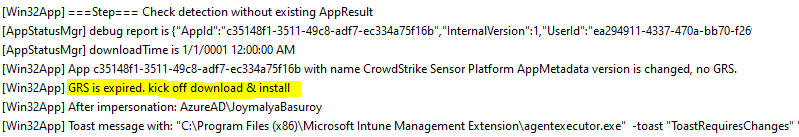 Override GRS: Trigger IME to retry failed Win32 App deployment - IME starts processing a previously failed app for further processing only when GRS counter (24 hours) for that app has expired.