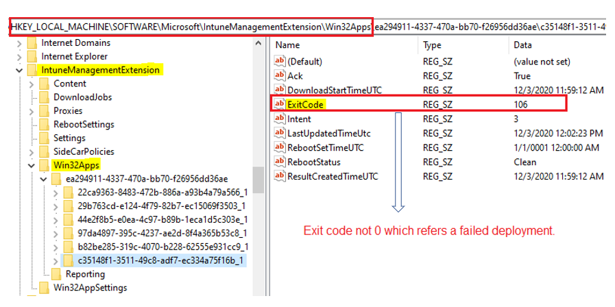 Override GRS: Trigger IME to retry failed Win32 App deployment - Navigate to the IME reg path and identify the corresponding Win32 app subkey using the App ID from the IME Log