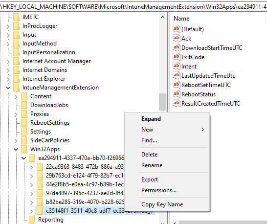 Override GRS: Trigger IME to retry failed Win32 App deployment - Delete the idenitifed corresponding Win32 app subkey
