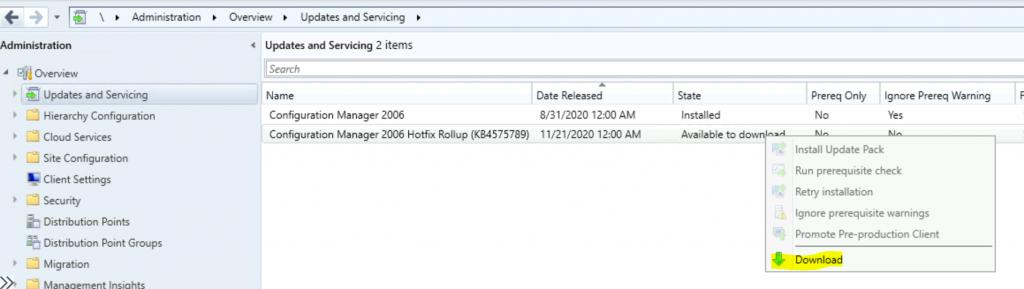 SCCM 2006 Revised Update Rollup Hotfix KB4575789 ConfigMgr