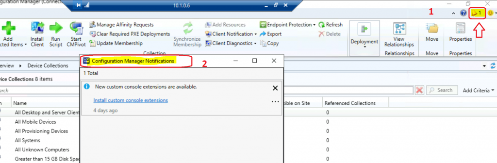 SCCM Console Notification Option in Action for ConfigMgr OLD vs New 2