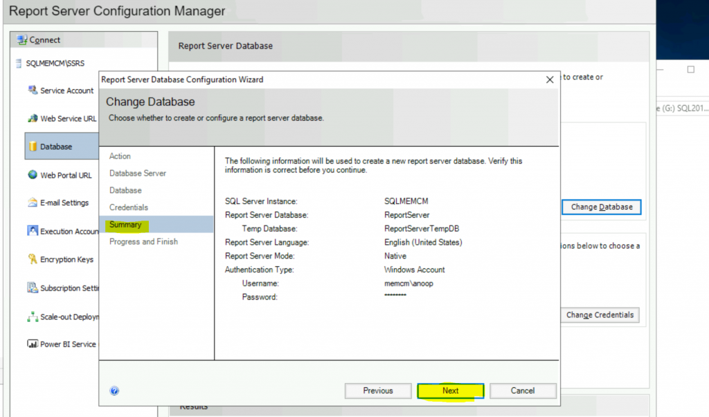 ConfigMgr Create a New Database for SSRS Reporting Service