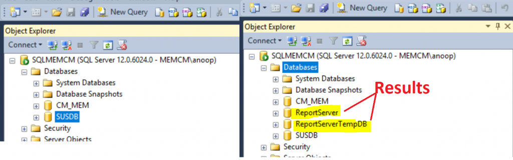 ConfigMgr Create a New Database for SSRS Reporting Service 1