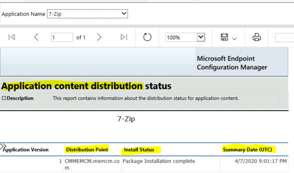 ConfigMgr Reports Application Package Distribution | Default  | SCCM
