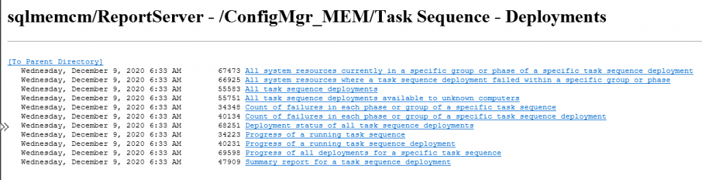 ConfigMgr Reports Task Sequence | Default | SCCM
