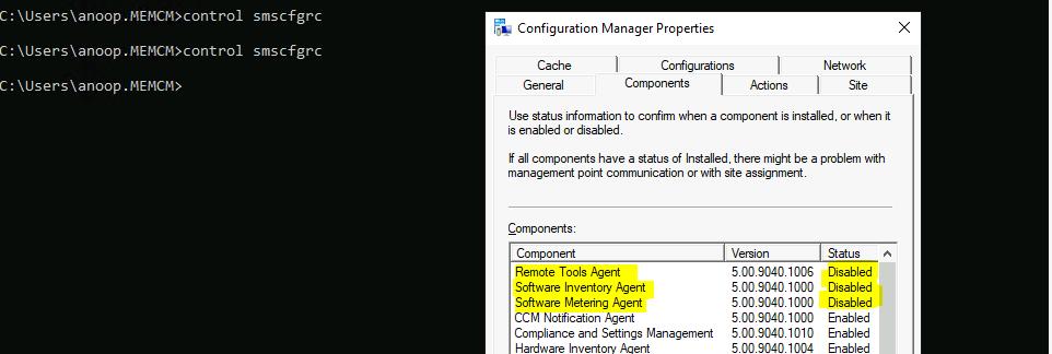 ConfigMgr Client Component Status | Installed | Enabled | Disabled | SCCM 1