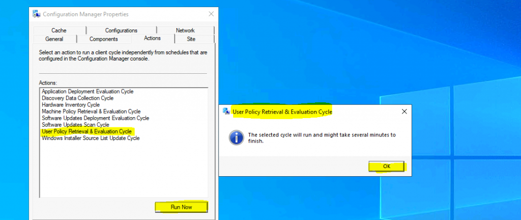 ConfigMgr User Policy Retrieval & Evaluation Cycle Client Action | SCCM