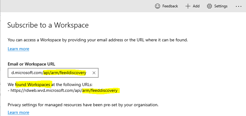WVD Workspace URL | Remote Desktop App from Microsoft Store