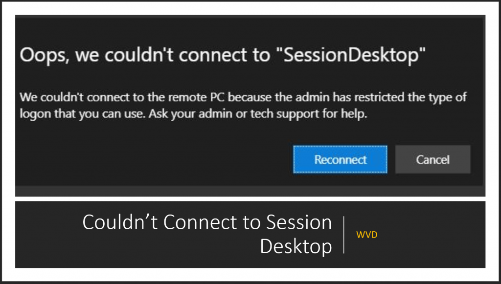 Fix WVD Couldn't Connect to Session Desktop | Admin has Restricted the Type of Logon
